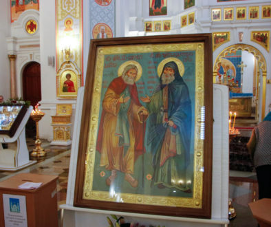 Икона преподобных Серафима Саровского и Гавриила Самтаврийского с частицами мощей прибыла в Витебск