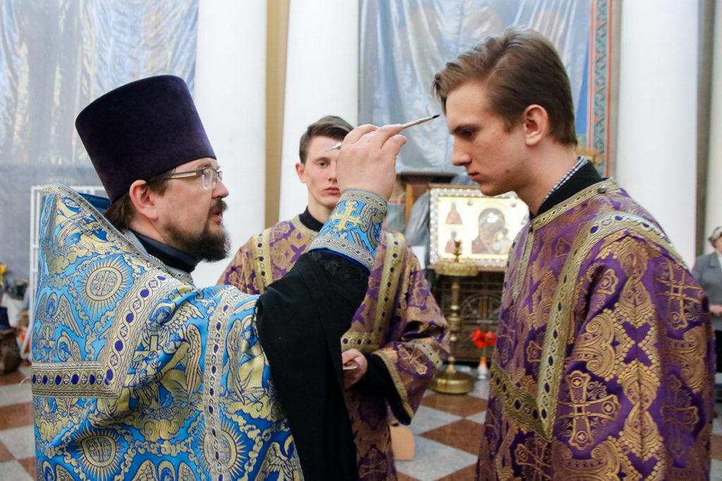 В канун Благовещения первый проректор совершил всенощное бдение в храме Воскресения Христова города Витебска