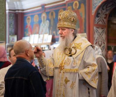 В канун праздника Вознесения Господня ректор семинарии совершил богослужение в Свято-Покровском соборе города Витебска